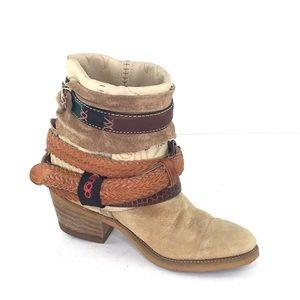 Dingo Beige/Tan Suede/Leather Booties w/Belts/Ties